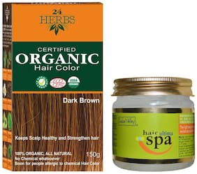 Indus Valley 24 Herbs Dark Brown Organic Hair Colour With Ultima Spa For Relaxing Hair Massage (Combo Pack)