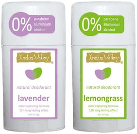 Indus Valley Natural Deodrant Lavender & Lemongrass Roll Ons For Men & Women-Combo Pack
