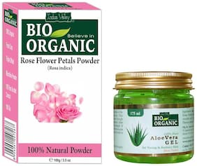 Indus Valley Aloe Vera Gel And Rose Petals Powder For Oil Control Set of 2