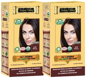 Indus Valley 100% Organic Soft Black - Ammonia Free Hair Colour ( Set of 2)