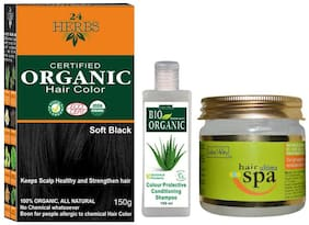 Indus Valley 24 Herbs Professional Soft Black Hair Colour With Ultima Hair Spa And Bio Colour Protective Shampoo (Combo Pack)