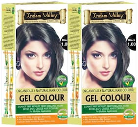 Indus Valley Organically Natural Permanent Gel Black 1.00 - No Ammonia No Ppd And No Peroxide Hair Color (Set of 2)