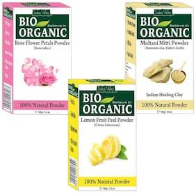 Indus Valley Bio Organic Lemon Peel Powder+ Multani Mitti Powder + Rosepetal Powder Combo Pack of 3