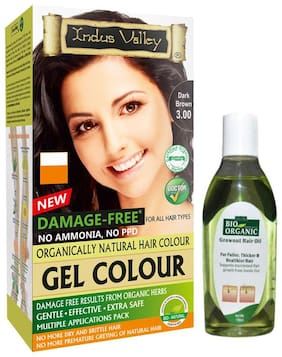 Indus Valley Recommended By Dermatologist Gel Dark Brown With Growout Hair Oil (For Rebirth Hair) Combo Pack Set of 2