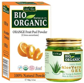 Indus Valley Orange Peel Powder And Aloe Vera Gel For Natural Face Cleanser Set of 2