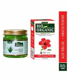 Indus Valley Bio Organic Aloe Vera Gel And Hibiscus Powder For Split Ends Hair Set of 2