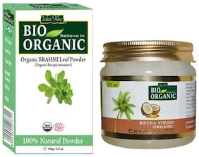 Indus Valley Bio Organic Brahmi Powder And Coconut Oil For Nourish Hair Set of 2