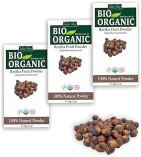 Indus Valley Bio Organic Reetha Herbal Powder - Triple Pack (For Thick & Bouncy Hair)