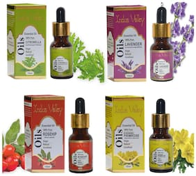 Indus Valley Essential Oil Combo Kit For Reduces Acne And Hyper Pigmentation( Citronella Rosehip Lavender & Evening Primrose) - Set of 4