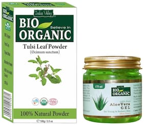 Indus Valley Natural Aloe Vera Gel And Tulsi Powder For Remove Acne Set of 2