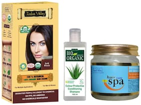 Indus Valley Ppd Free Botanical Soft Black Hair Colour With Hair Eaze Spa Treatment And Bio Colour Protective Shampoo (For Remove Hair Problem) Combo Pack Set of 3