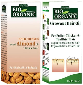 Indus Valley Natural Almond Oil & Growout Oil (Combo Pack) Moisturizes Dry Hair