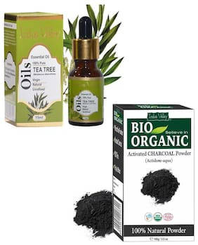 Indus Valley Combo Pack For Anti Dandruff Treatment(Tea Tree + Activated Charcoal Powder)