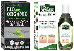Indus Valley Bio Organic Soft Black Henna Hair Dye With Growout Hair Oil Set of2 (For Strengthen&Follicles Hair)
