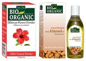 Indus Valley 100% Organic Hibiscus Powder (For Stone) With Almond Oil (Remove Dark Circle & Tan)