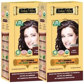 Indus Valley 100% Organic Botanical Light Brown (Set of 2) Hair Color