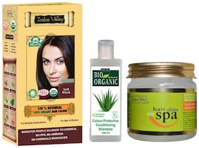 Indus Valley Ayurvedic Botanical Soft Balck Hair Colour With Professional Hair Ultima Spa And Alkali Free Bio Colour Protective Shampoo Combo Pack Set of 3