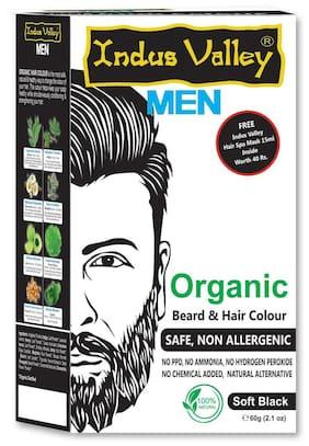 Indus Valley Men Organic Beard & Hair Colour Soft Black For Safe & Non Allergenic