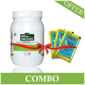 Indus Valley Biorganic Henna Leaf Powder 500 gm With Free 3 Hair Eaze Spa Conditioning Mask (Pack Of 1)