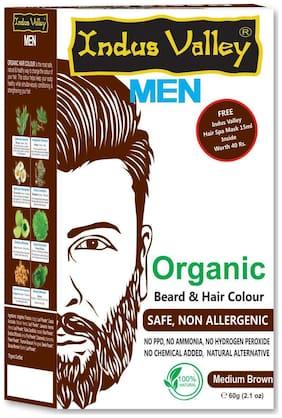 Indus Valley Men Organic Beard & Hair Colour Medium Brown For Safe & Non Allergenic