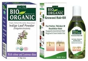 Indus Valley 100% Pure Indigo Henna Hair Colour With Anti Dandruff Growout Hair Oil (Combo Pack)