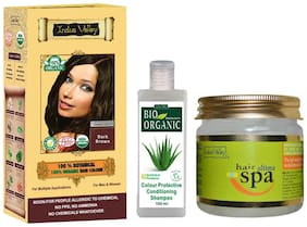 Indus Valley 100% Vegetable Botanical Dark Brown Hair Dye With Ultima Spa And Paraben Free Bio Colour Protective Shampoo Combo Pack Set of 3