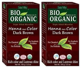 Indus Valley Bio Organic Natural Dark Brown Henna Hair Color (Extra Safe Colour) Set of 2