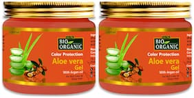 Indus Valley Bio Organic Color Protection Aloe Vera Gel With Argan Oil For Rich Color & Shiny Hair 175 ml (Pack of 2)