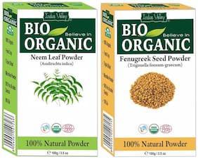 Indus Valley Bio Organic Neem Powder And Fenugreek Powder For Hair Growth Set of 2