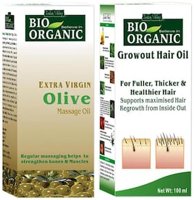Indus Valley Pure Olive Oil & Growout Oil Combo Pack Set of 2 (For Keratin Hair)