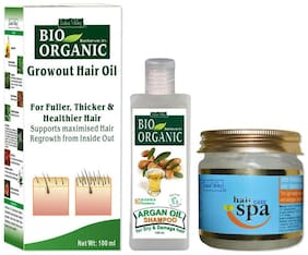 Indus Valley Bio Organic Anti Hair Fall Kit (For Smooth Shiny& Silky Hair) Set of 3