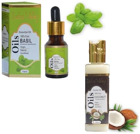 Indus Valley Basil And Coconut Oil For Dull Looking Skin And Hair Combo Pack-115 ml )