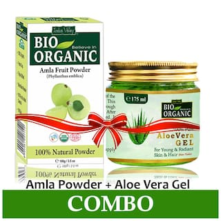 Indus Valley Organic Amla Powder 100gm And Aloe Vera Gel 175ml For Hair And Skin Treatment