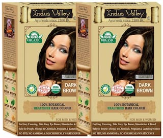 Indus Valley 100% Certified 100% Organic & Natural Dark Brown - One Touch Pack - 2 - Set - Hair Color