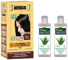 Indus Valley 100% Natural Indus Black With 2 Bio Colour Protective Shampoo (For Silky Hair) Combo Pack Set of 3