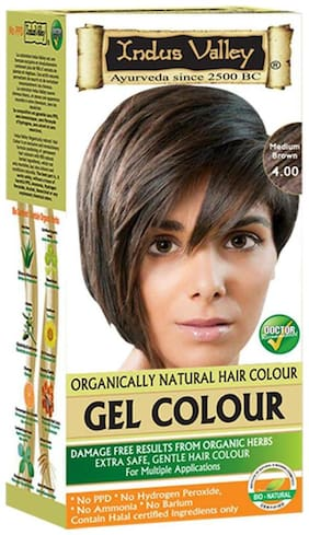 Indus Valley Natural Gel Medium Brown 4.00 Hair Dye ( For Improved Appearance)