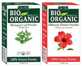 Indus Valley Pure Bhringraj Powder And Hibiscus Powder For Thicker Hair Growth Set of 2