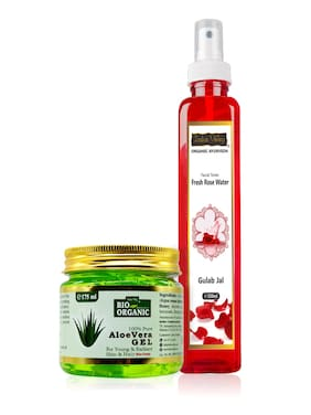 Indus valley 100% Natural Aloe Vera Gel And Natural Rose Water 250ml and Body Wash 175ml (Pack of 2)