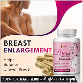 Inlazer Breast Shape Up Herbal Capsules For Help In Correcting Underdeveloped Breasts 500mg 100% Ayurvedic