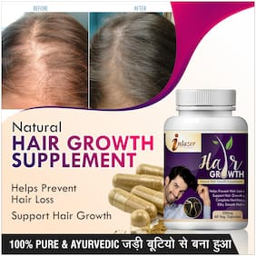 Inlazer Hair Growth Herbal Capsules For Remove Hair Spilit Ends 500mg 100% Ayurvedic