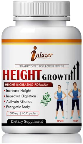 Inlazer Height Growth For Increases Height & Bone Mass 100% Ayurvedic Pack of 1 (60 Capsules)