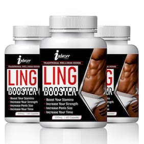 Inlazer Ling Booster Capsuless for Boost Your Sexual Stamina 100% Ayurvedic-60Capsules(Pack of 3)