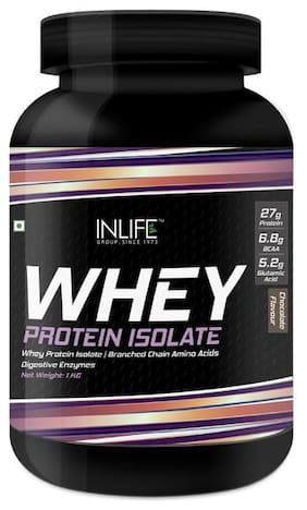 INLIFE 100% Isolate Whey Protein Powder Supplement 27 g protein per serving - 1 kg (Chocolate)