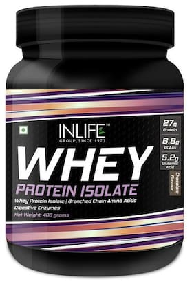 INLIFE 100% Isolate Whey Protein Powder Supplement 27 gm protein per serving - 400 gm (Chocolate)