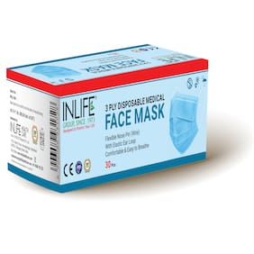 INLIFE 3 Ply Face Mask With Earloop and Nose Pin( Pack of 30 )