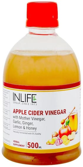 INLIFE Apple Cider Vinegar With Garlic Ginger Lemon Honey & Mother of Vinegar Raw Unfiltered Unpasteurized Supplement 500 ml