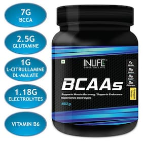 INLIFE BCAA Branched Chain Amino Acids 7 g with L-Glutamine,Citrulline Malate Nutrition Energy Supplements for Men & Women - 450 g (Pineapple)