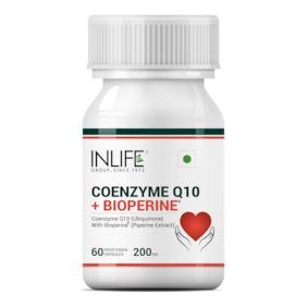 Inlife Coenzyme Q10 Coq10 200Mg With Bioperine (Piperine) 8Mg Supplement 60 Vegetarian Capsules