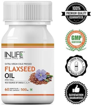Inlife Flaxseed Extra Virgin Cold Pressed Oil 500 mg 60 Veg Caps