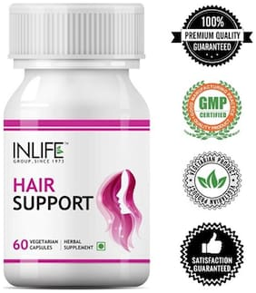 Inlife Hair Support Supplement, Bhringraj, Brahmi, Ashwagandha and other Ayurvedic Herbs 500 mg - 60 Vegetarian Capsules  (60 No) Immunity/Immunity Booster